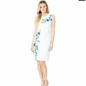 Calvin Klein NWT WHITE MULTI Flower Print Dresd
